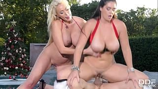 Busty Christmas Threesome with Summer Brielle & Alison Tyler